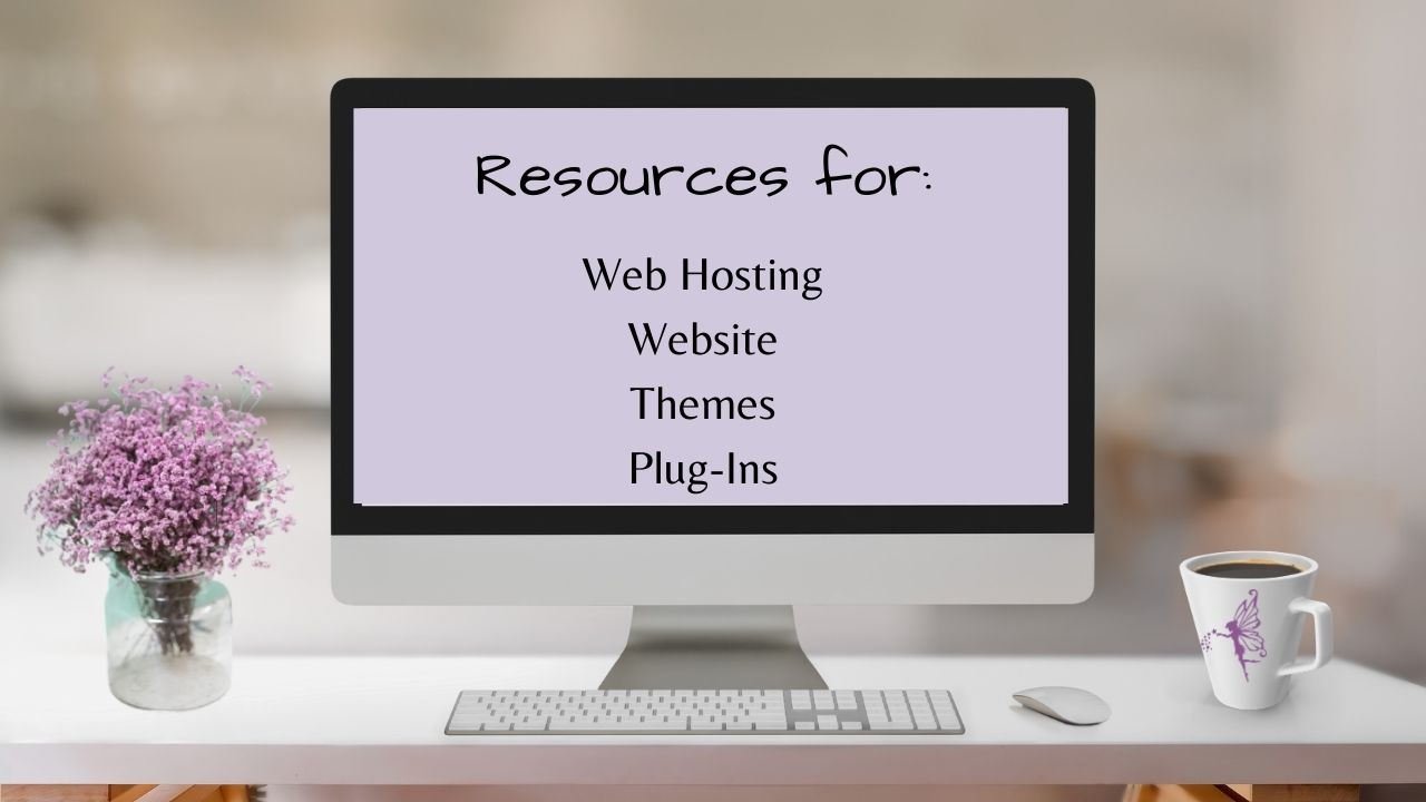 purple flowers computer, coffee cup, Resources for Web Hosting, Website, Themes, Plug-ins