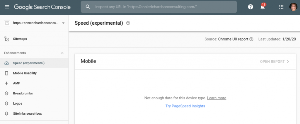 image of Google Search Console with Enhancements for Technical Website Audit