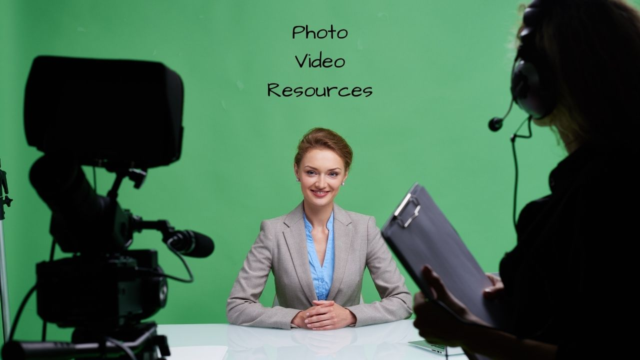 green screen, video camera, director, woman at desk, photo, video, resources
