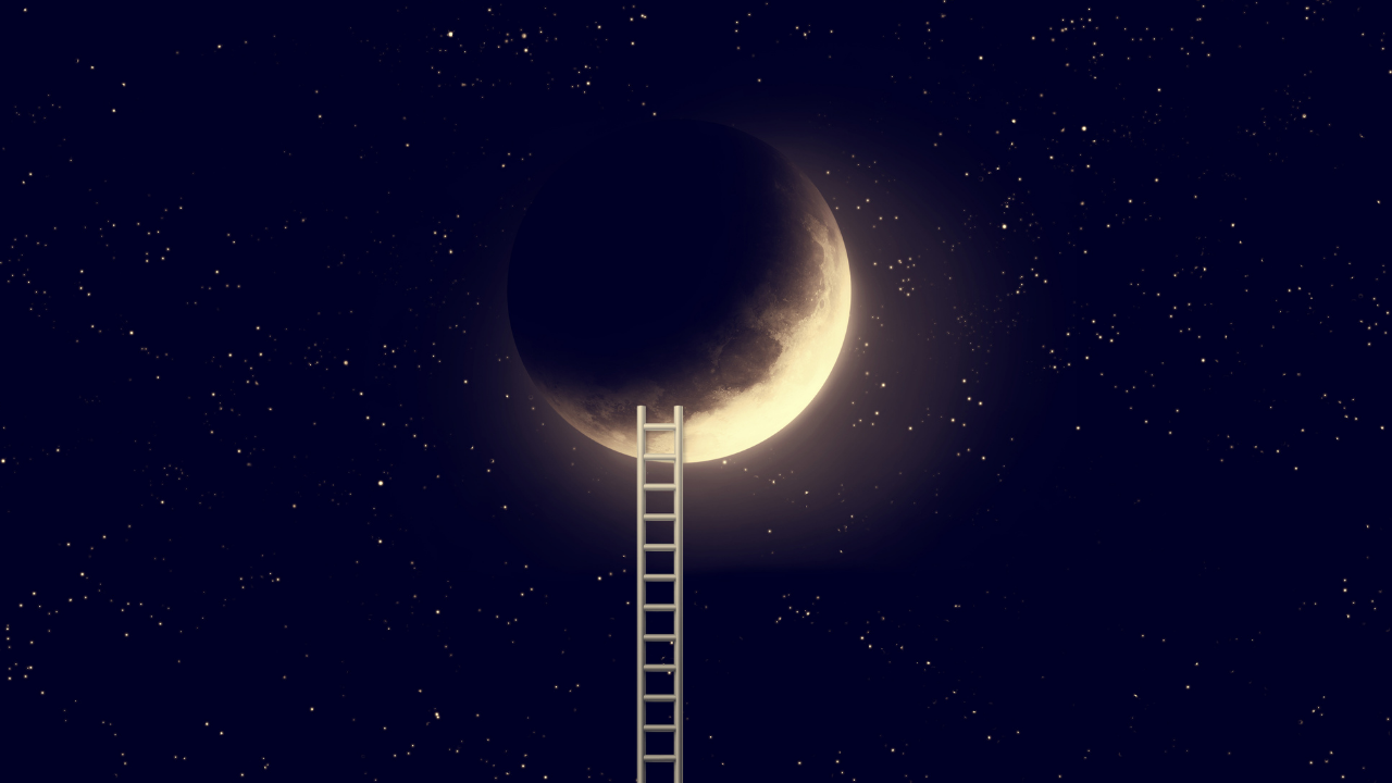 Photo of a crescent moon with a ladder leading up to it for dreamtime and the nightly slumber where dreams are magical portals to another realm