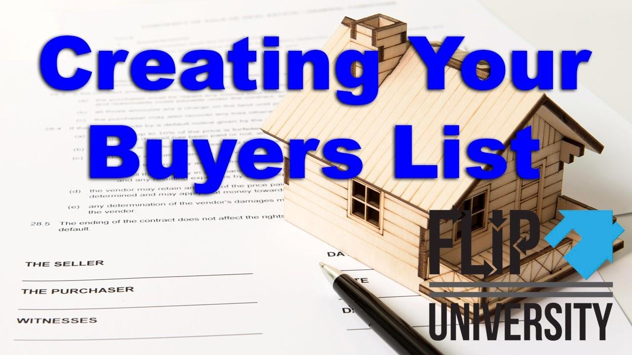How to Create Your Buyers List for Real Estate Flipping