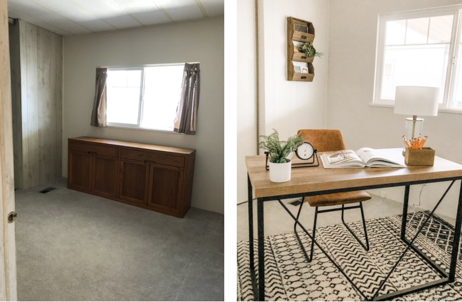 home staging office before and after with furniture