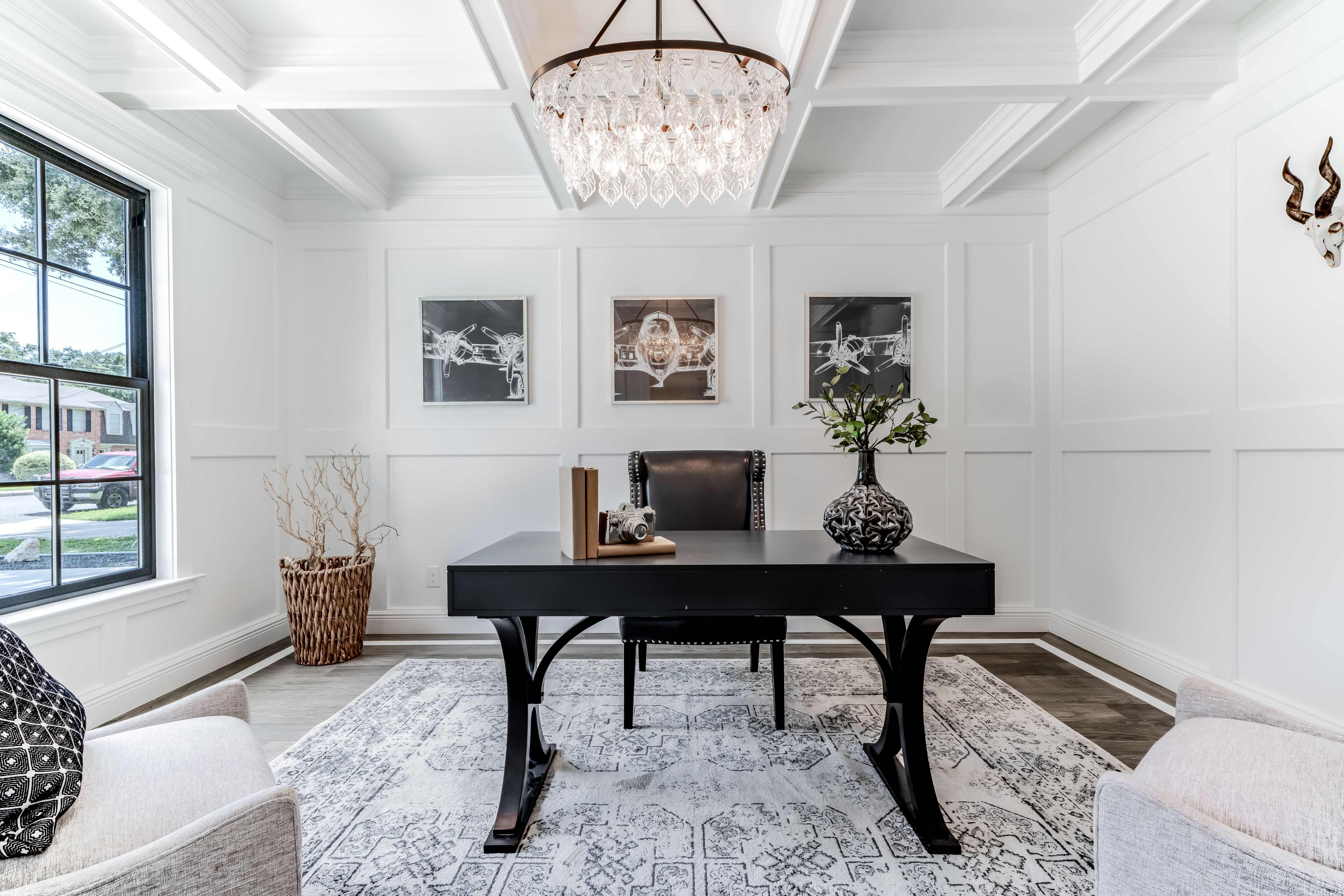 formal living room work from home staging