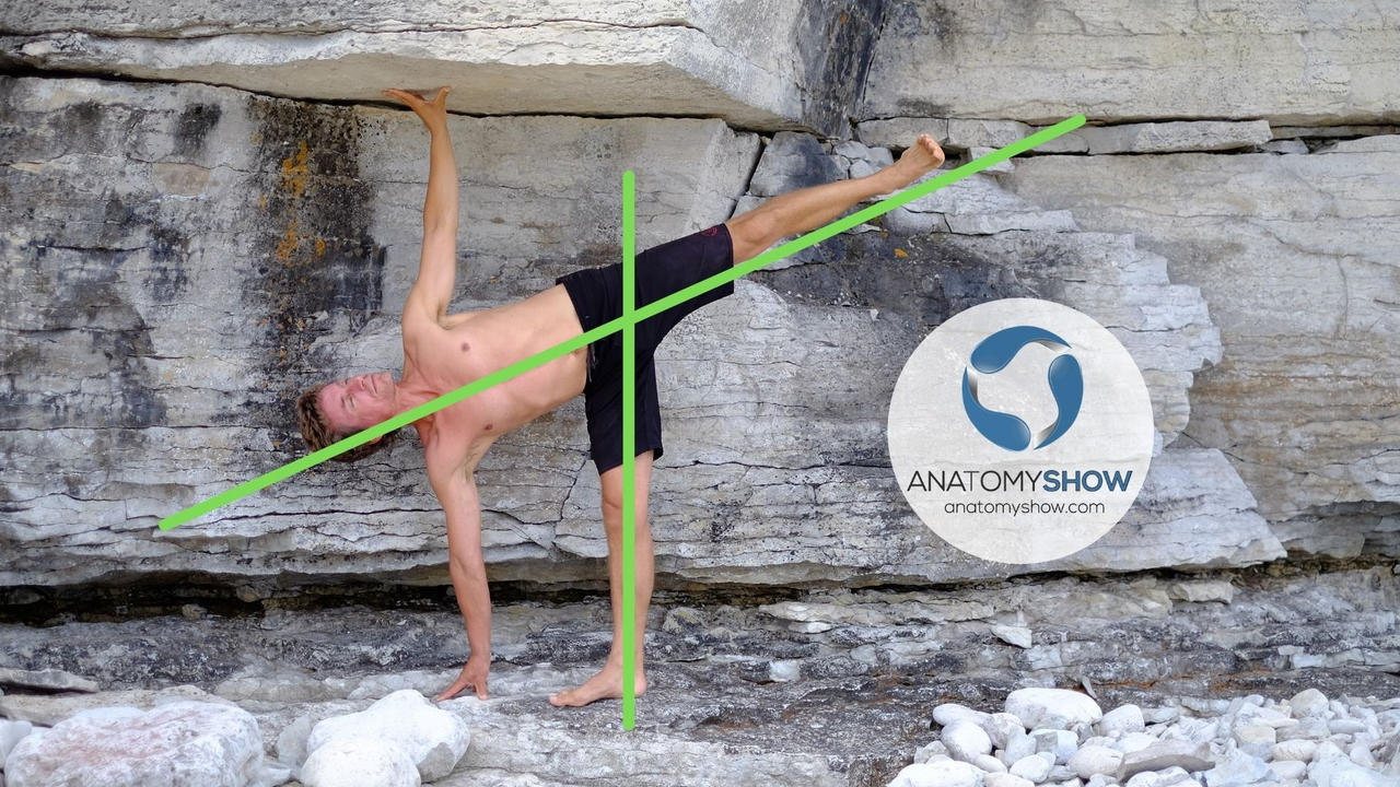 Half moon yoga pose with alignment markers