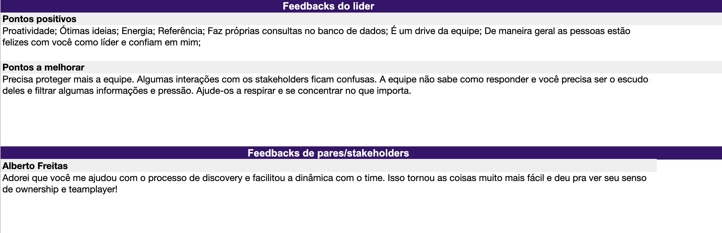 Seção de feedback - Check in mensal para Product Managers