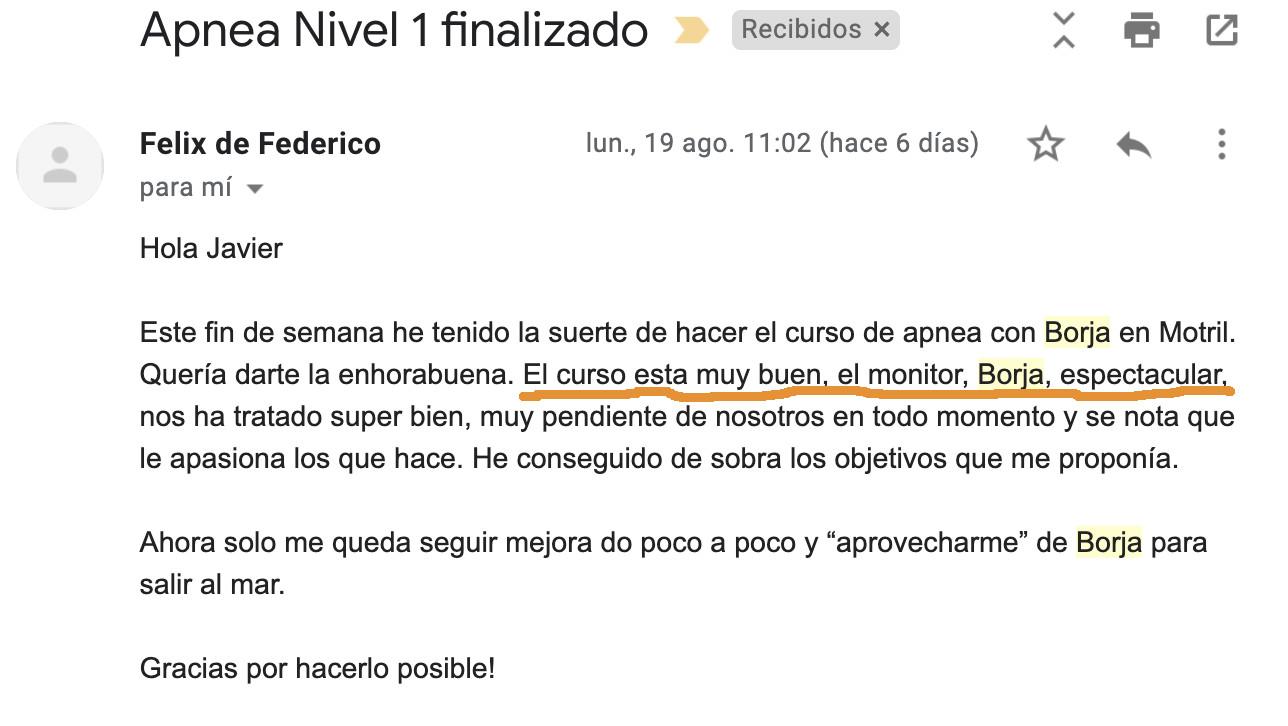 Opinión curso de apnea en Granada