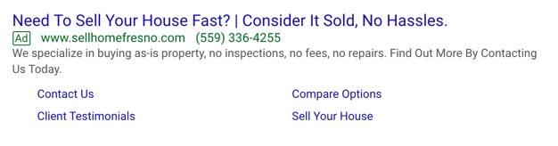 Google PPC ad for house flipper