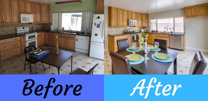 before and after kitchen remodel in a house flip