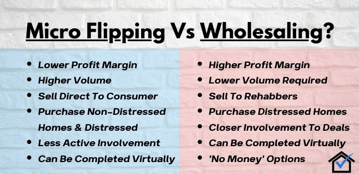 micro flipping vs wholesaling