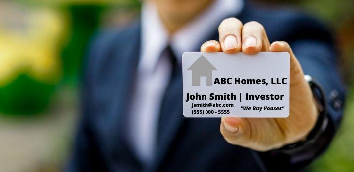 real estate investor business card