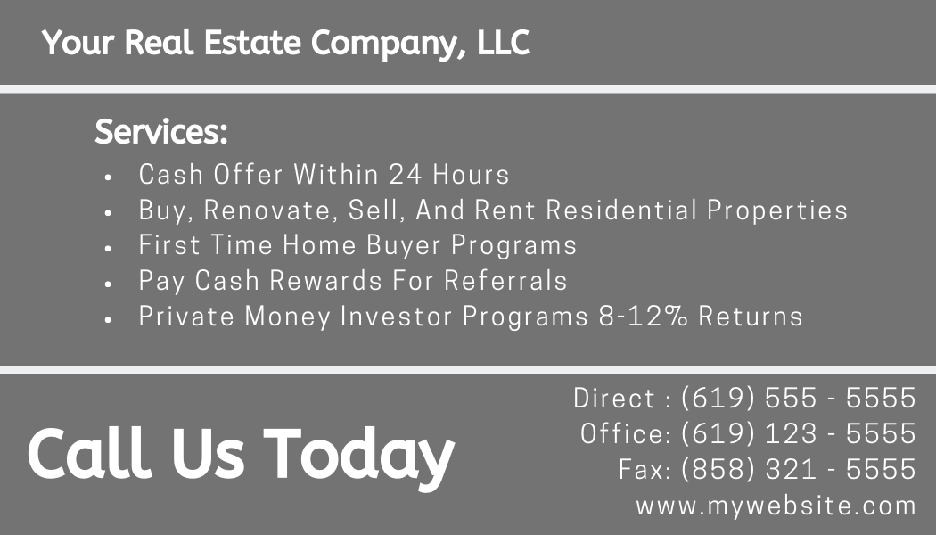 real estate investor business cards example back