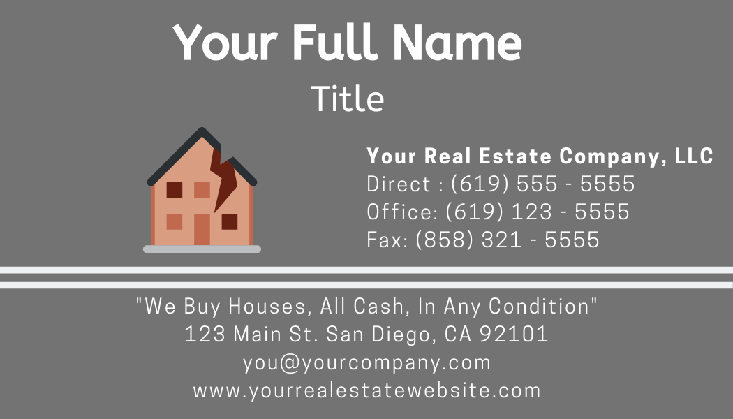 real estate investor business cards example front
