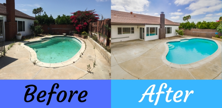 house flip before and after photos of swimming pool
