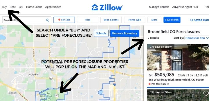 Find Pre Foreclosure Leads on Zillow