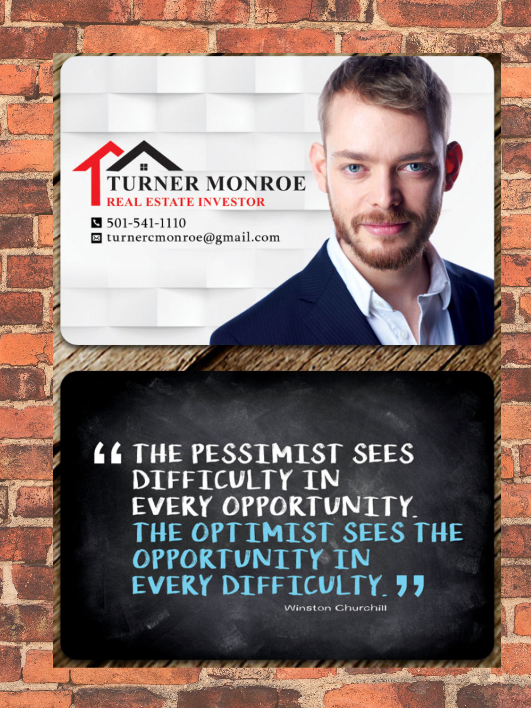 real estate investor business cards with inspirational quote