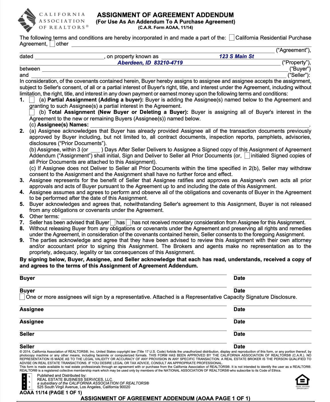 California real estate wholesale assignment contract