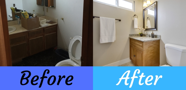 before and after bathroom remodel in a house flip