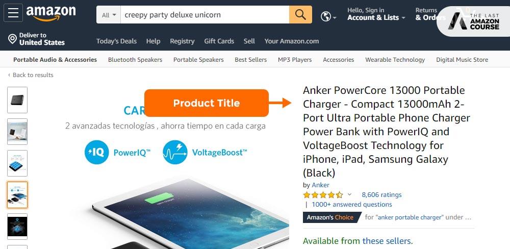 Amazon Listing Title