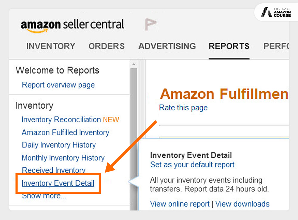 Amazon Seller Inventory Event Detail