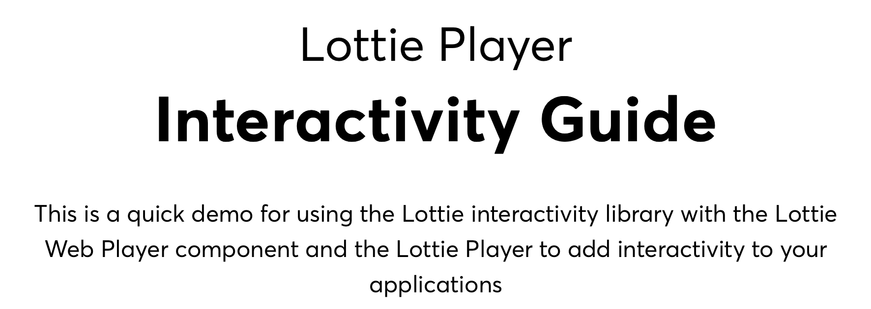Lottie Player Interactivity Guide