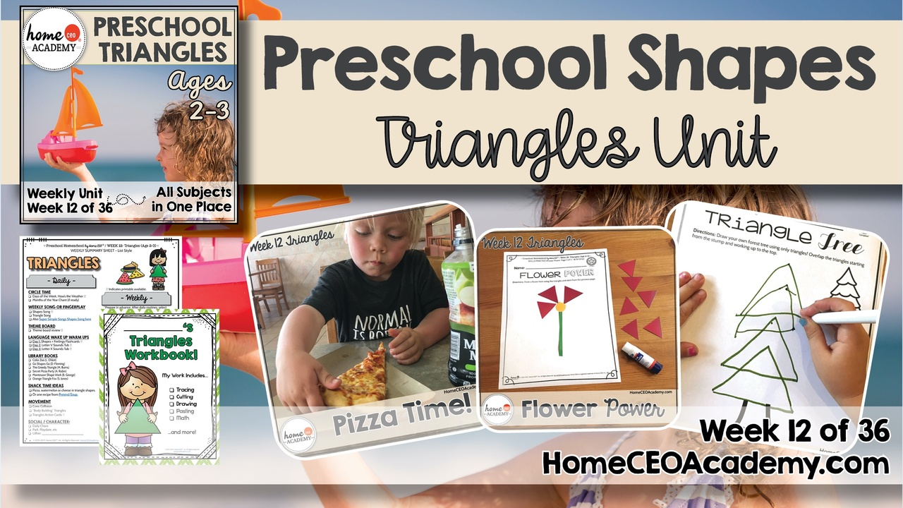 Compilation of images depicting pages and activities in the triangles themed week of the Home CEO Academy preschool homeschool curriculum Shapes Unit.
