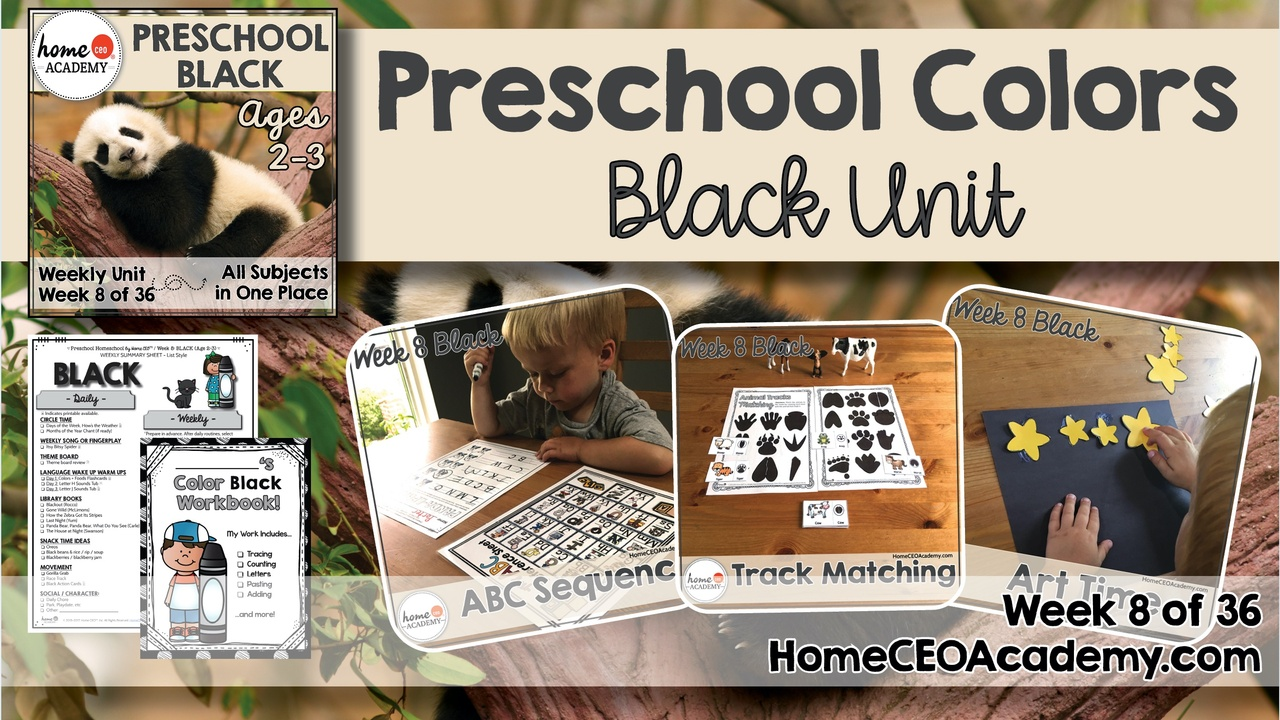 Compilation of images depicting pages and activities in the black themed week of the Home CEO Academy preschool homeschool curriculum Colors Unit.