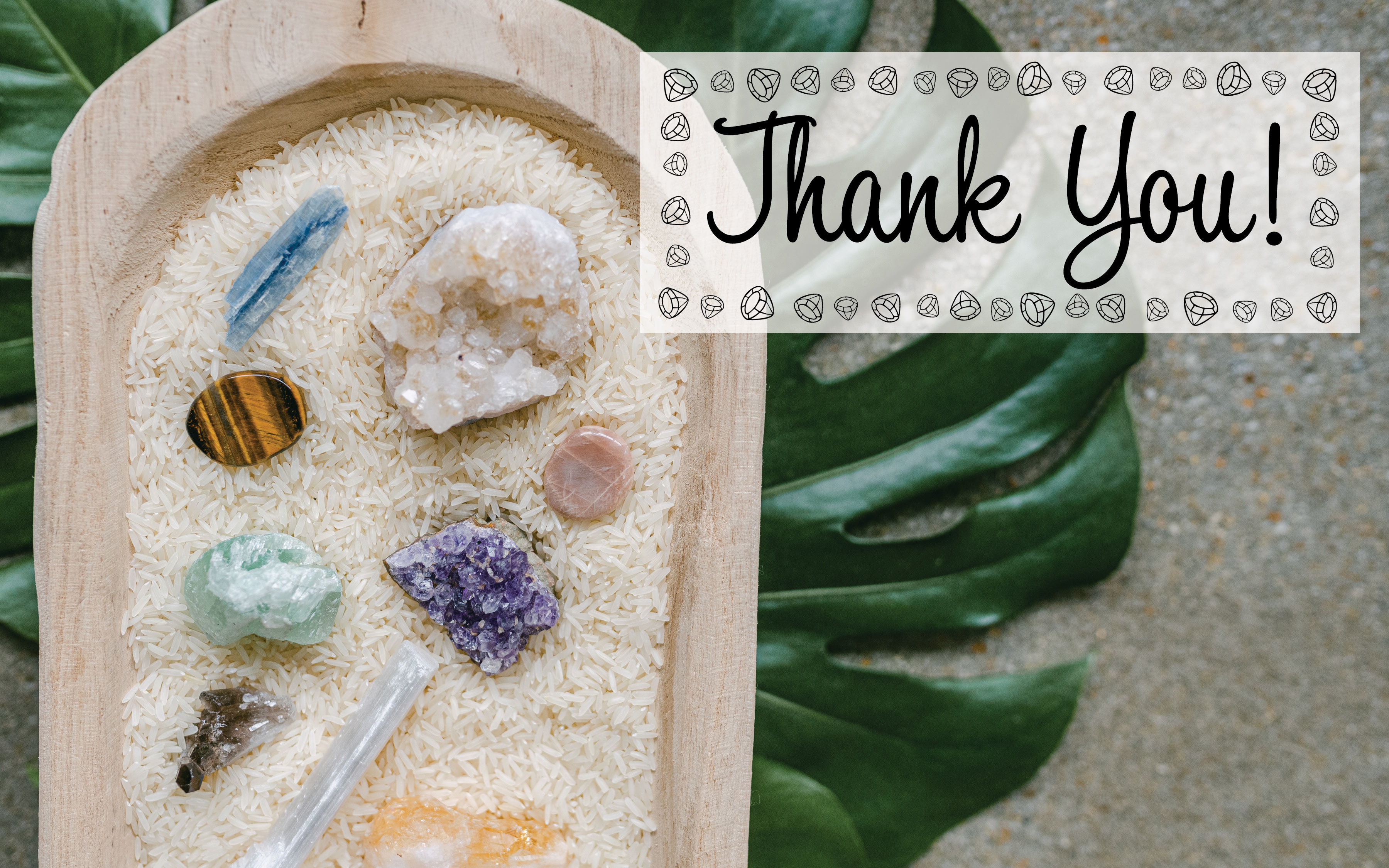 essential oils and crystals. thank you