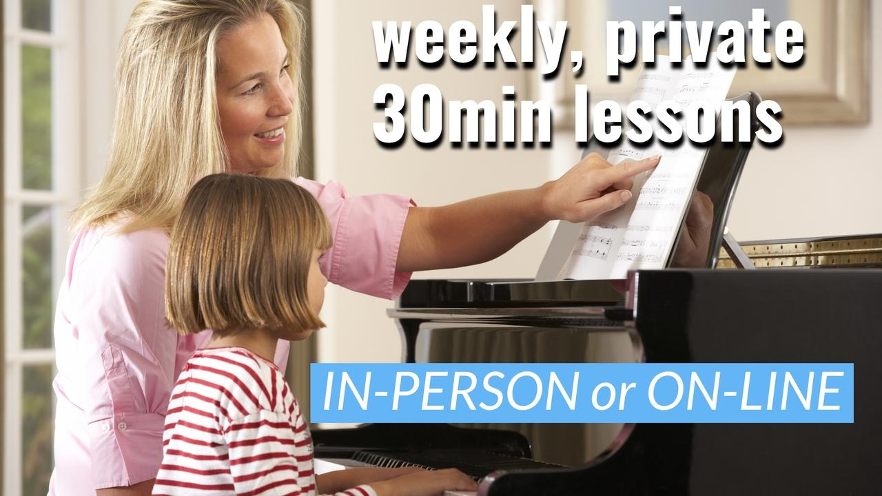 Ywe8pjbdrcckxmanomyc lady and kid in person piano lesson   with text 30 min lessons   resized