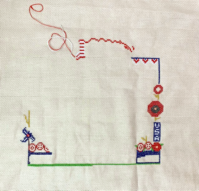 cross-stitch piece in progress