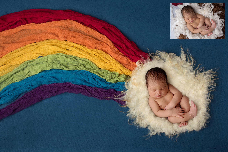Rainbow Baby Newborn Digital Background Collection