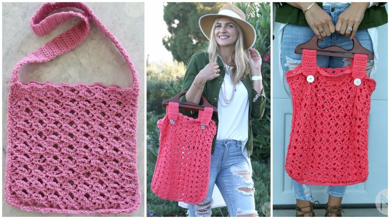 Lacy Crochet Beach Bag Tutorial PDF - Instructions with Video
