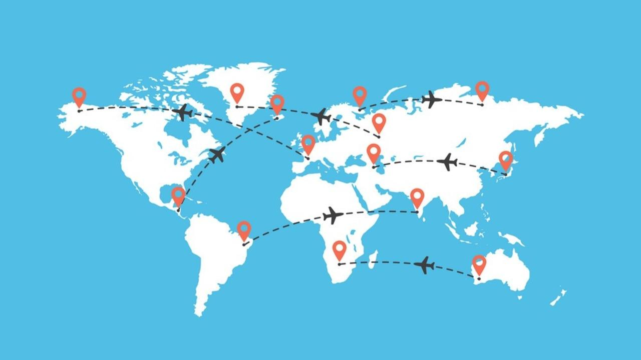 Baq443ztukxbvlnoofeg world travel map with airplanes vector 26150026