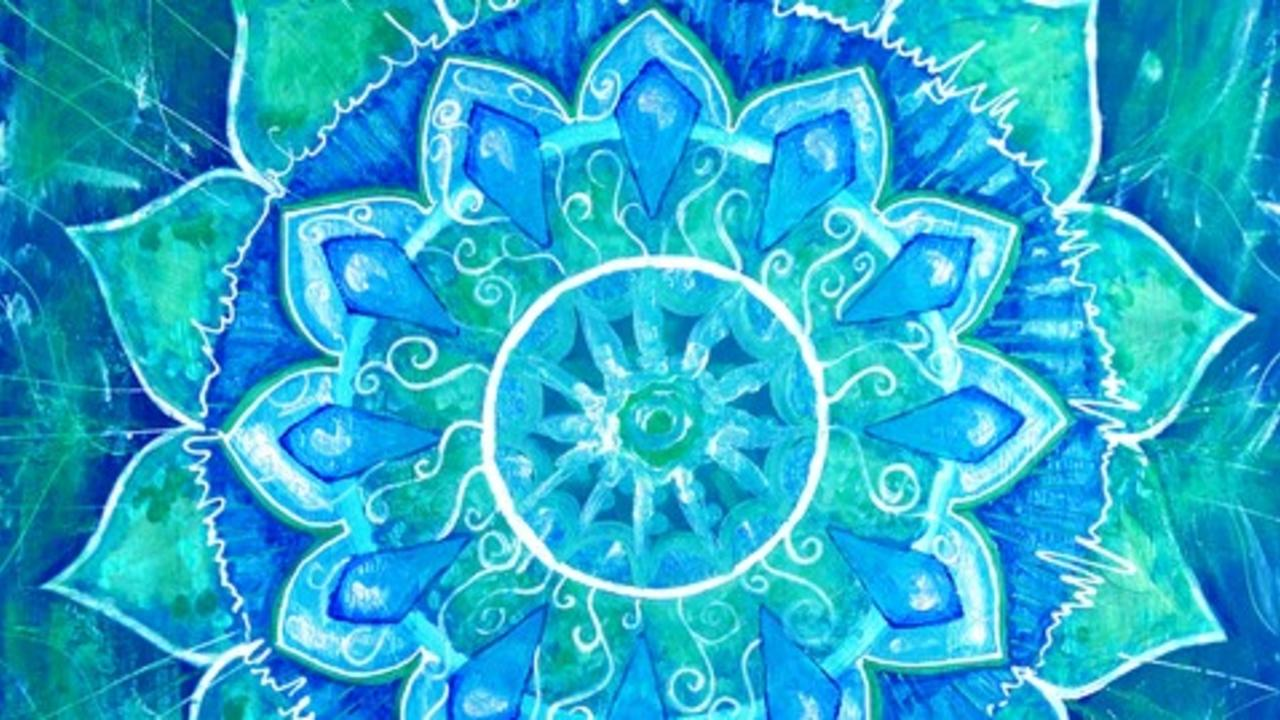 Usywf4itaqbqin8a30kw abstract blue painted picture with circle pattern mandala of vishuddha chakra.