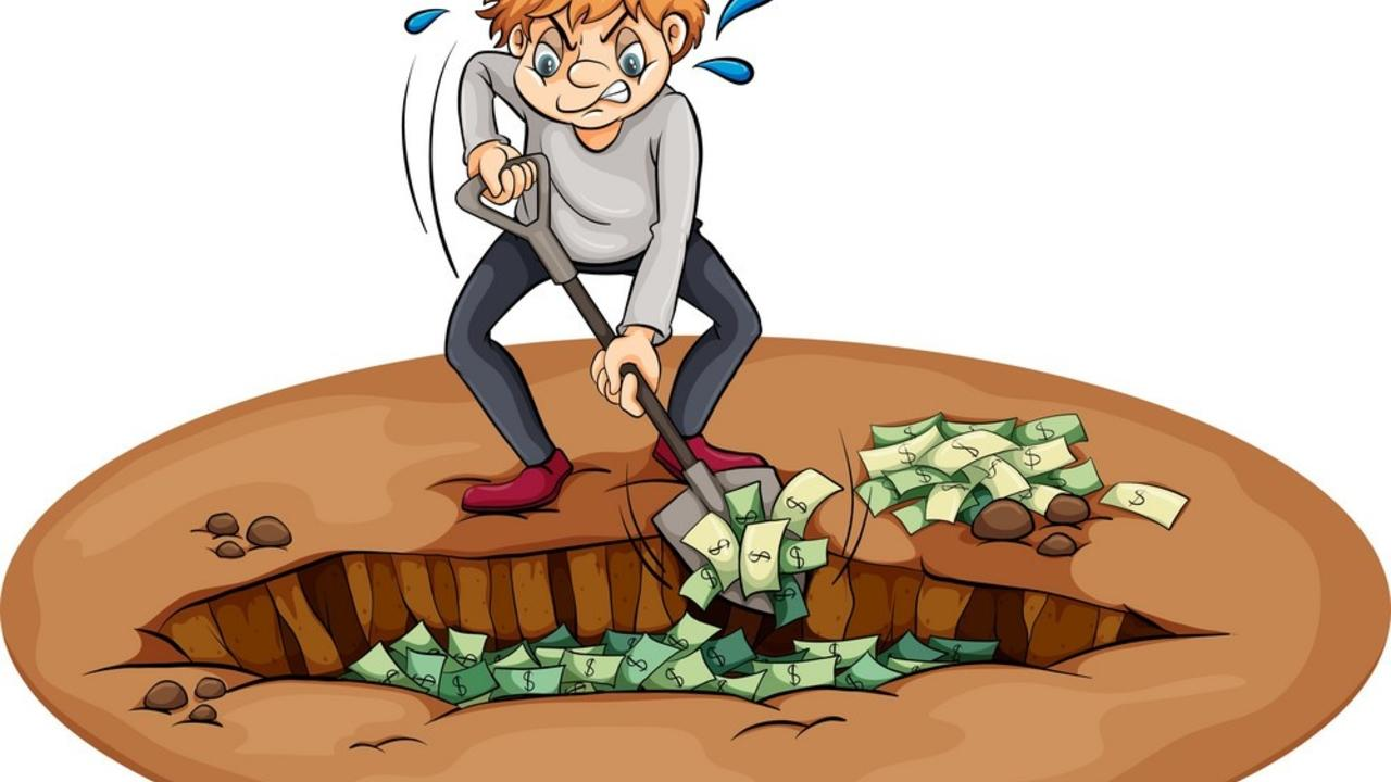 Orkzv34gt4k0fbyrn0l7 a man digging the money in the pit vector 3793005