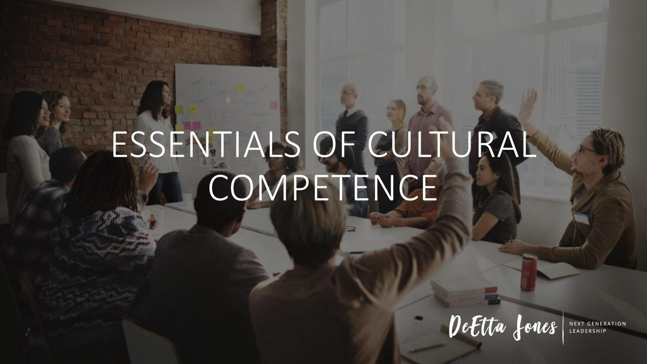 Essentials of cultural competence in white letters over a room where a training session is happening