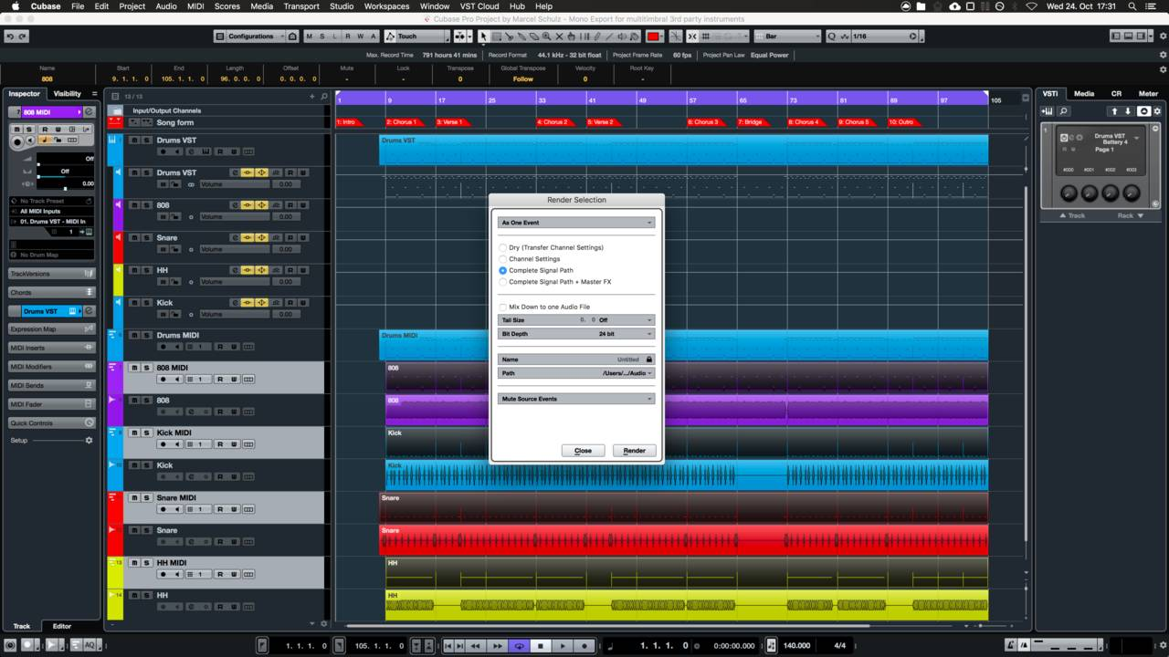 How to Render Multi Timbral Instruments like NI Battery in Cubase
