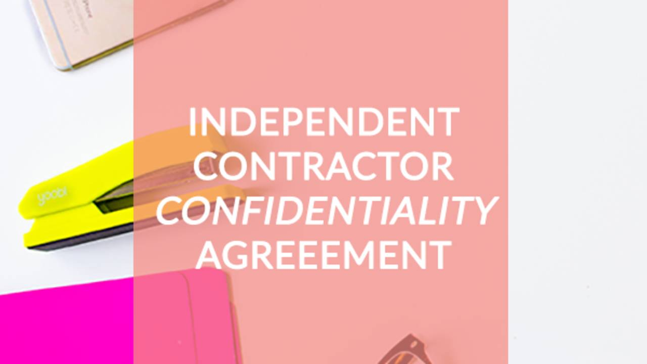 Independent Contractor Confidentiality Agreement Contract Template