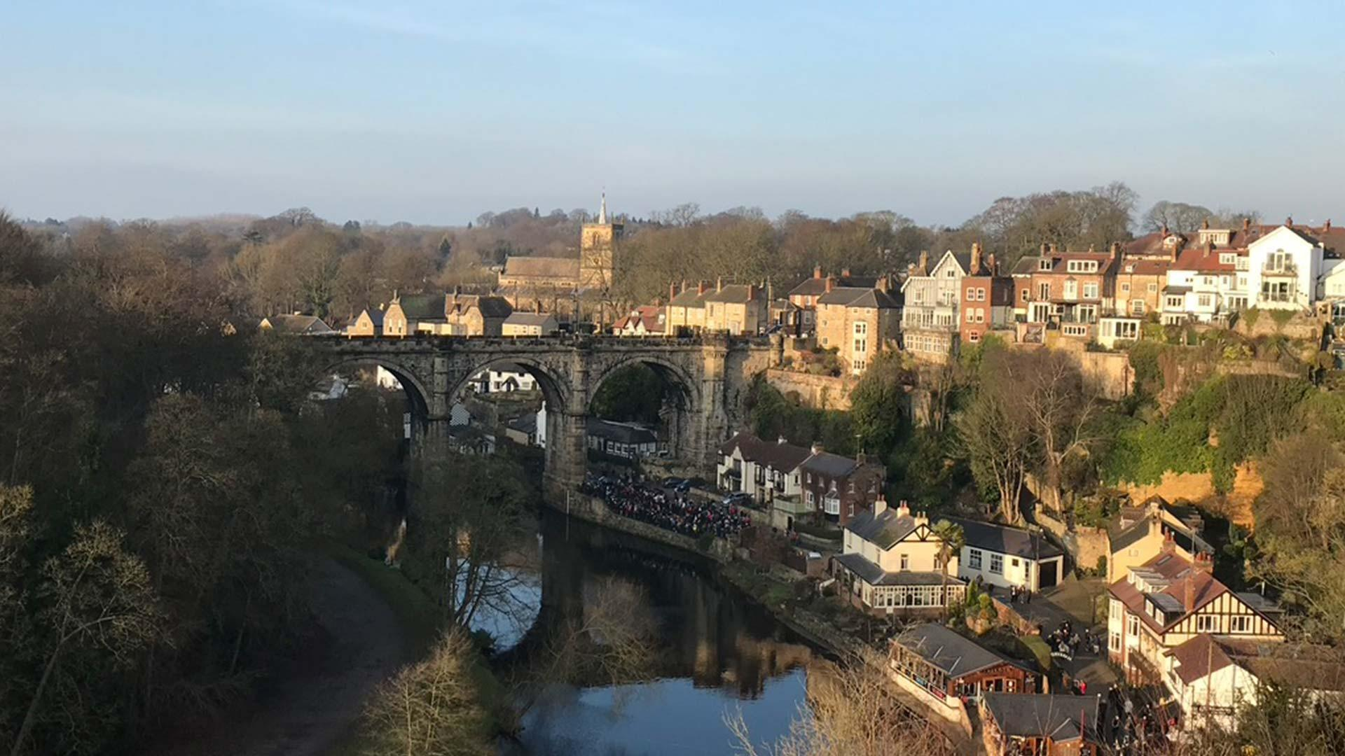 Knaresborough town and viaduct from the castle grounds