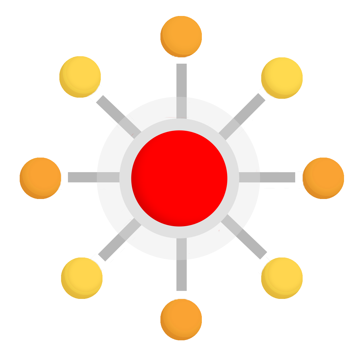 Red Hub with Surrounding Circles