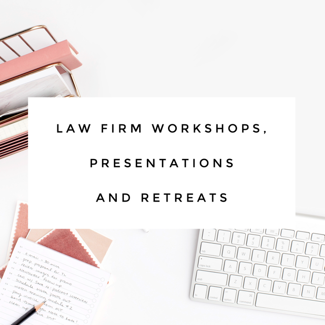 I offer inspiring and impactful workshops for law firms and law professionals, and women's groups and organizations