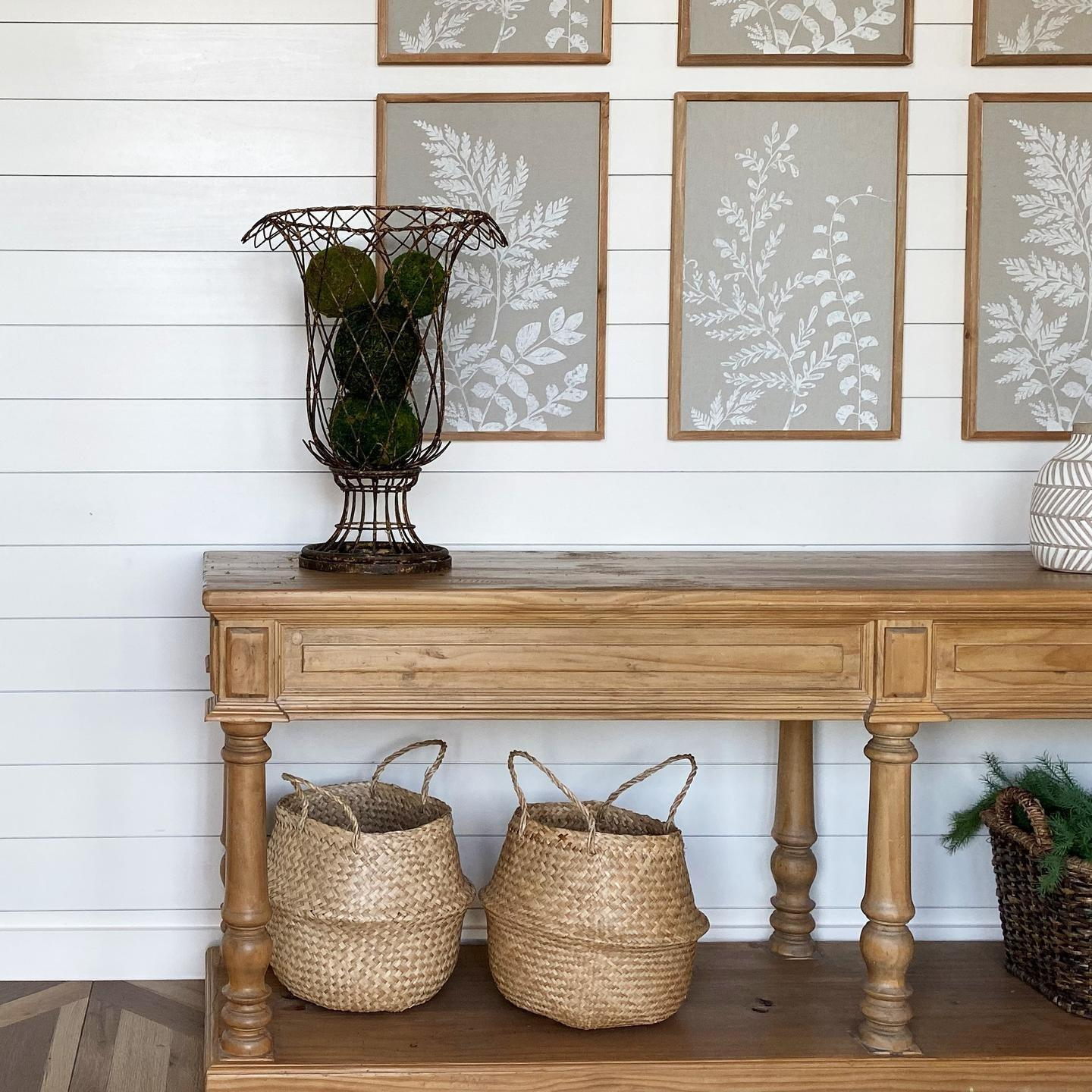 Staged farmhouse entry with baskets