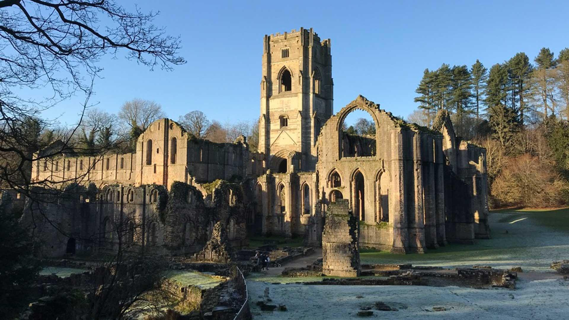 Frosty Fountains Abbey in the winter sunlight