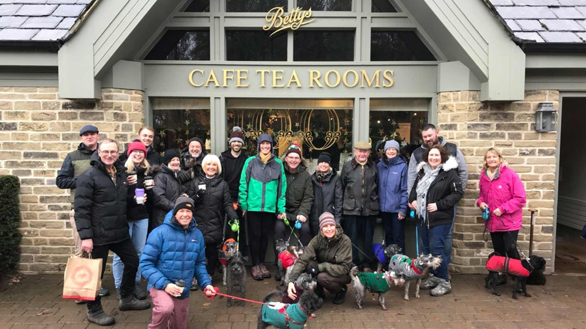 Schnauzer Walking Group outside Bettys Harlow Carr