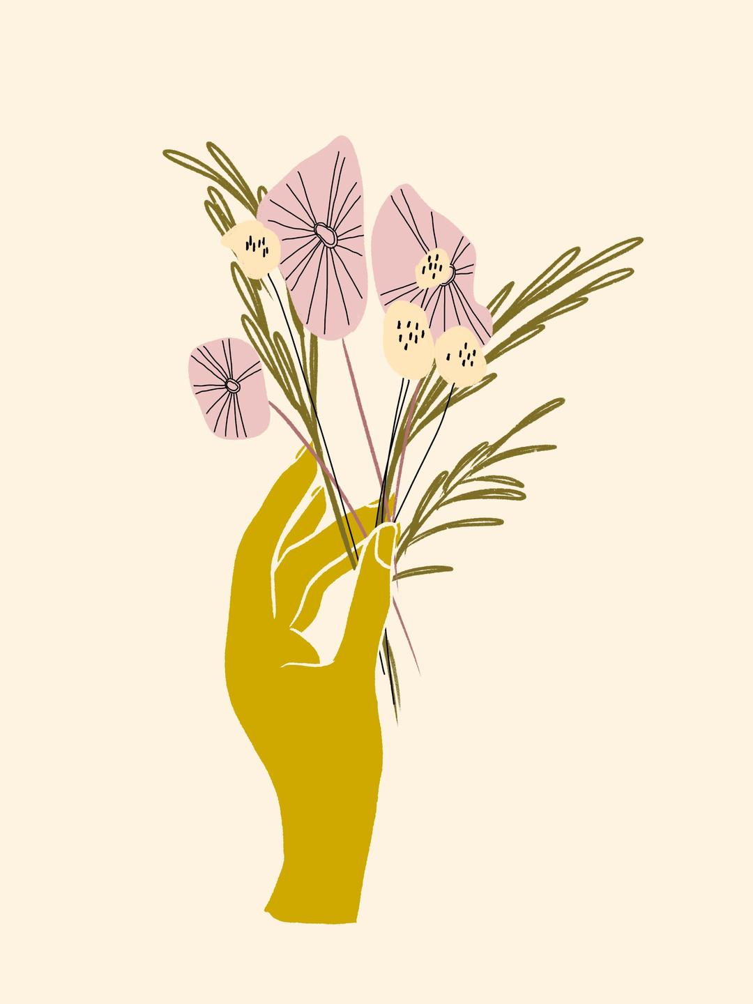 hand flowers illustration