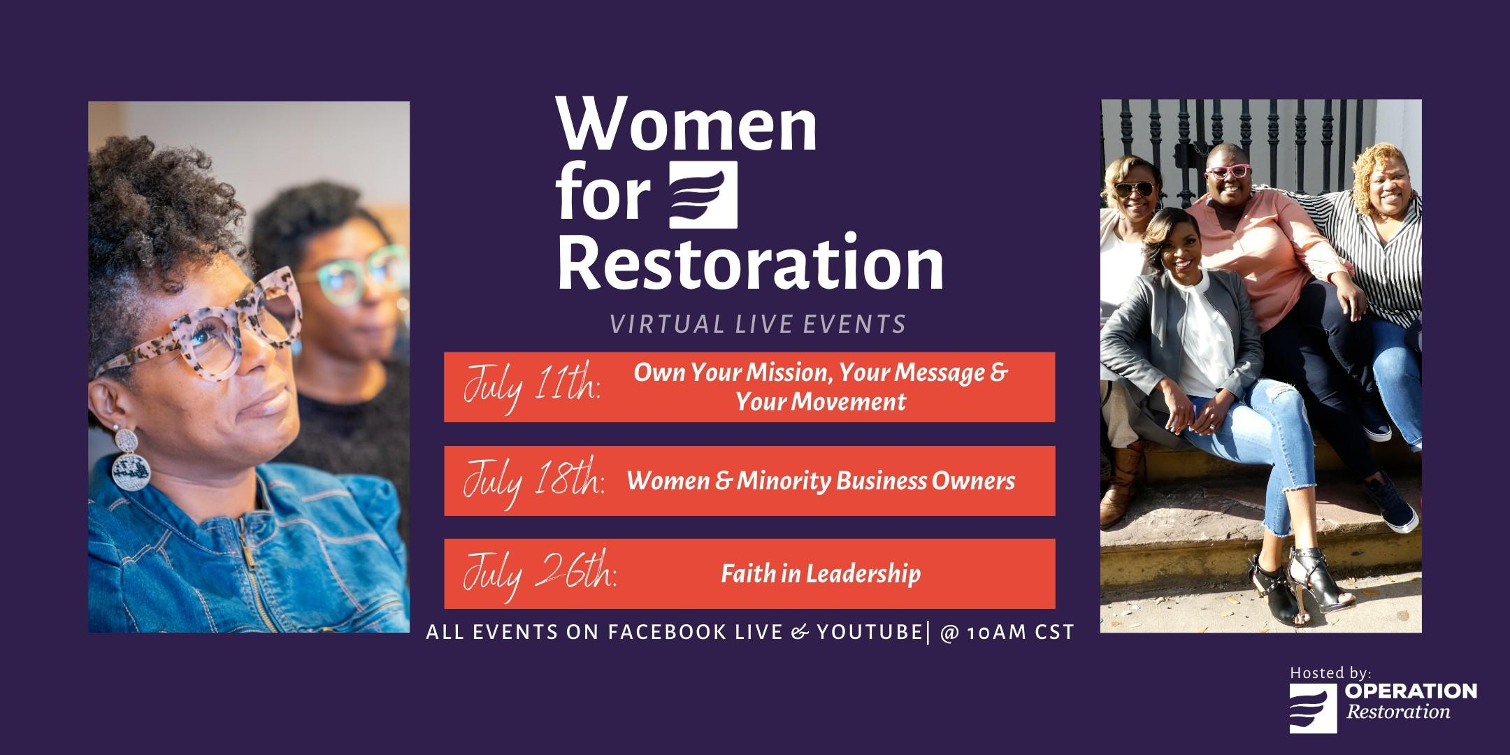 Women for Restoration for 2020 Independent Presidential Candidate