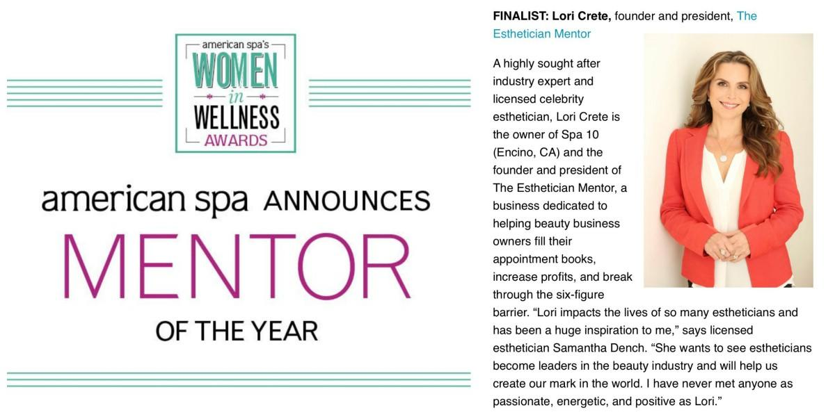 American Spa Magazine Mentor Of The Year Finalist