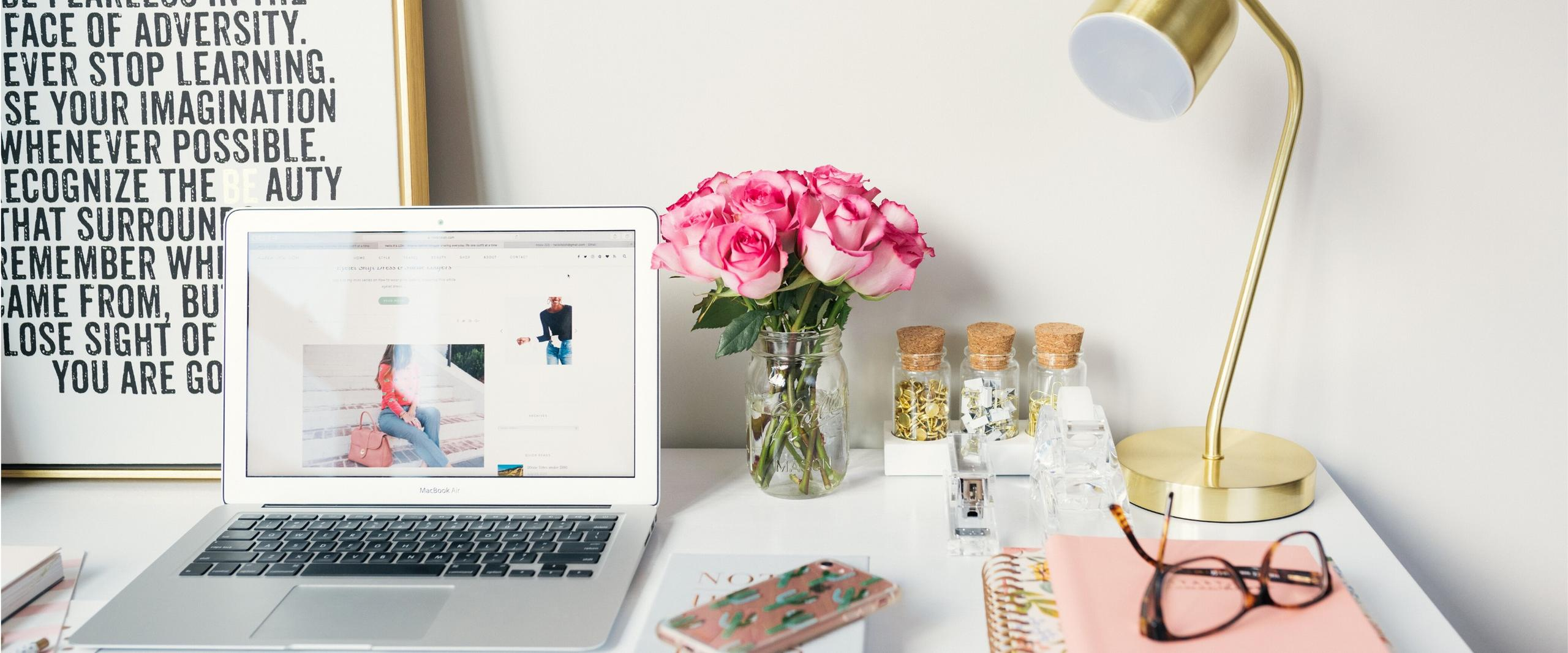 Desk with roses