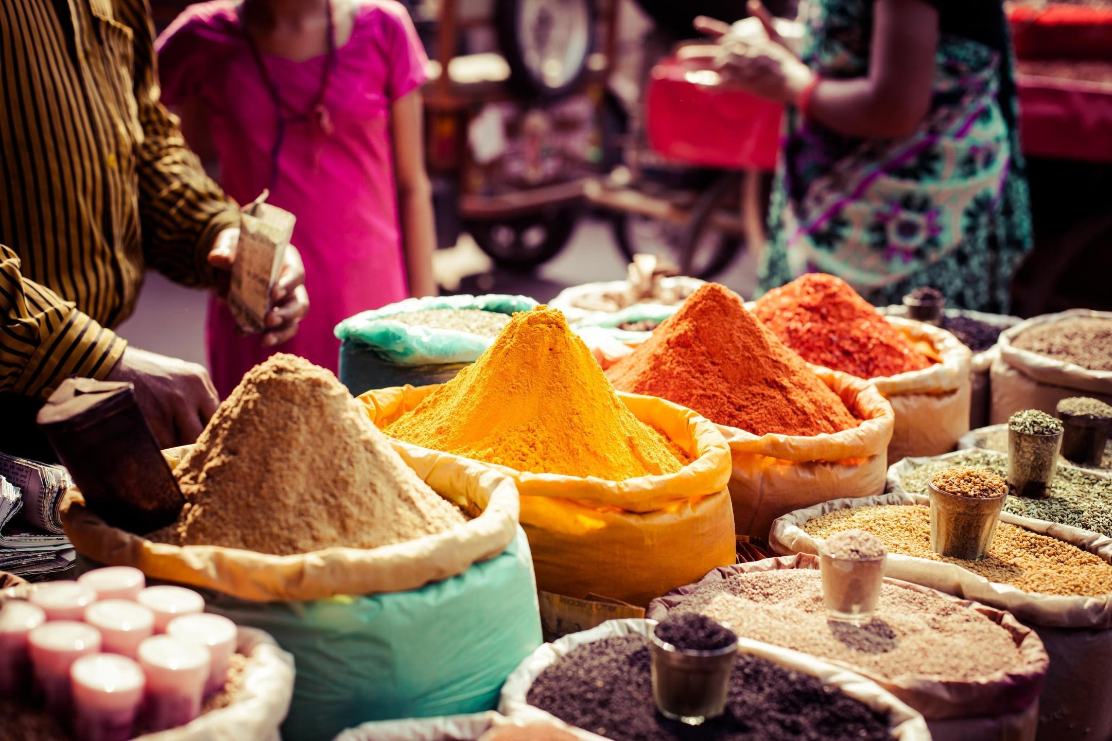 Vegan Indian Spices in large bags at a market
