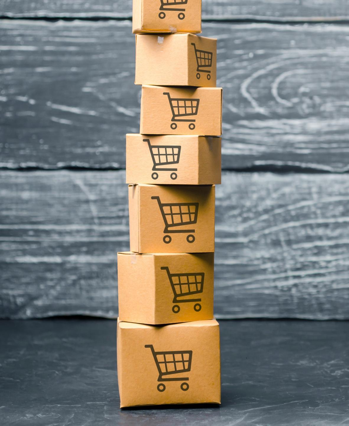 stacked online business e-commerce shipping boxes