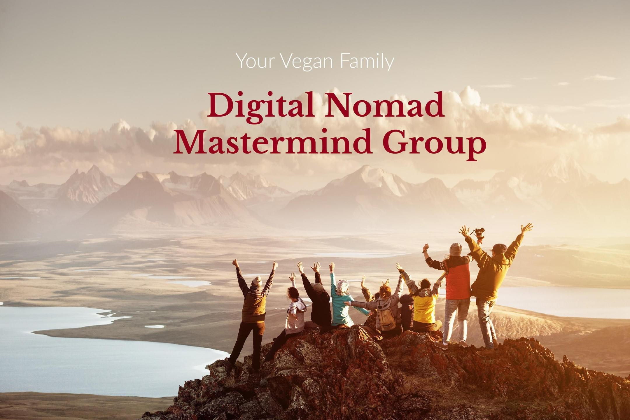 Digital nomad community celebrating on top of a mountain